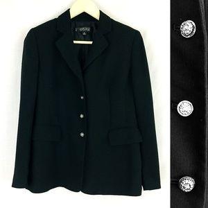 Kasper 3 Button Solid Black Lined Blazer Size 4P